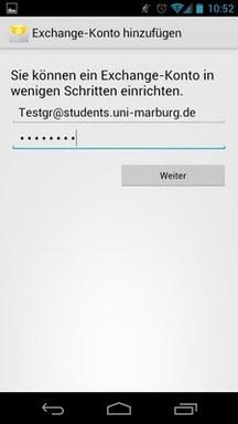 Anleitung - Android - Schritt 3 Email angeben
