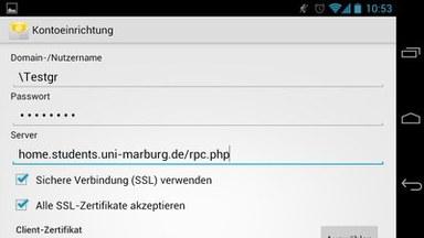 Anleitung - Android - Schritt 4 Domain und PW