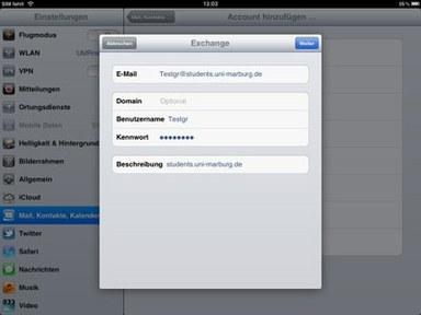 Anleitung - IOS - Schritt 3 Email angeben