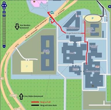 Ausschnitt Landkarte Campus Lahnberge