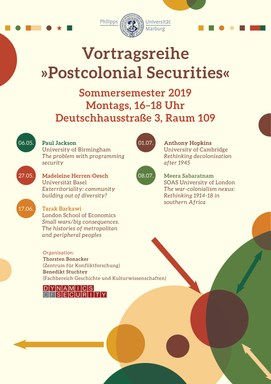 Plakat Vortragsreihe Postcolonial Securities