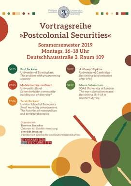 Plakat Vortragsreihe Postcolonial Securities