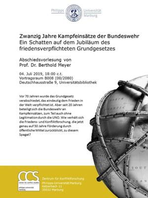 Poster zur Abschiedsvorlesung von Prof. Dr. Berthold Meyer zum Thema: