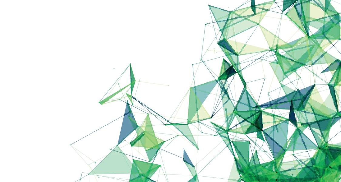 Grünes, geometrisches Muster, das sich auf weißem Grund ausbreitet.