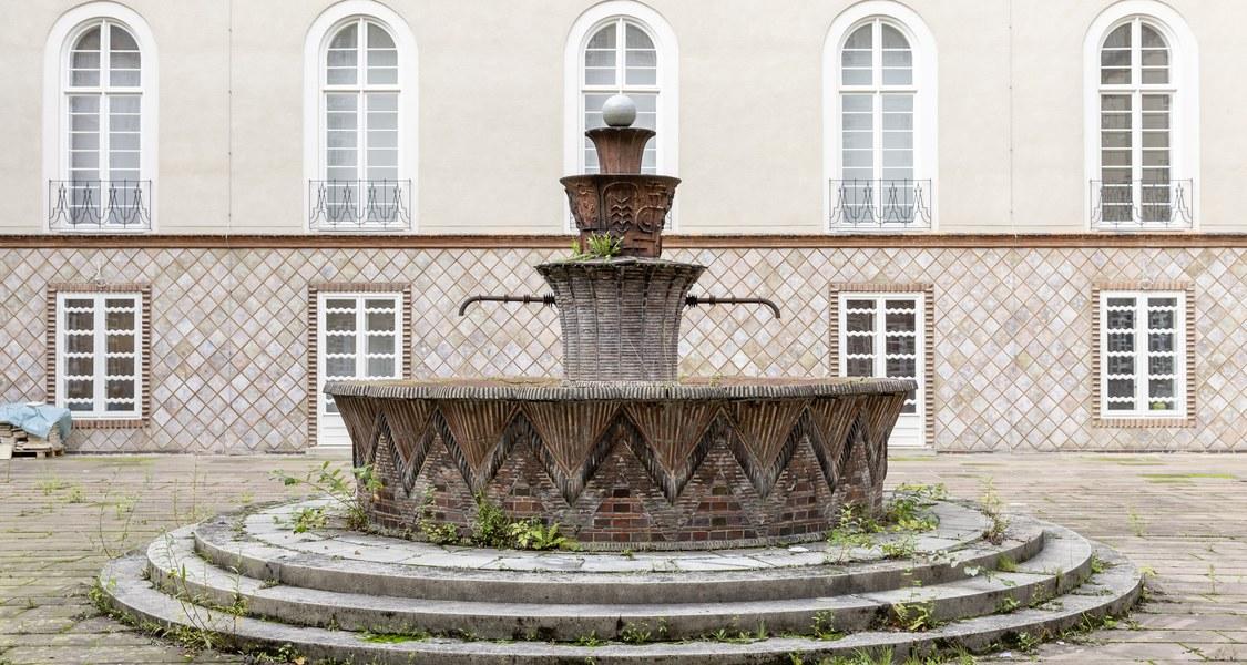 Zu sehen ist der Brunnen im Innenhof des Kunstmuseums. Einzelne Pflanzen brechen aus der Brunnenschale und sowohl Mängel als auch die einstige Schönheit wird deutlich.