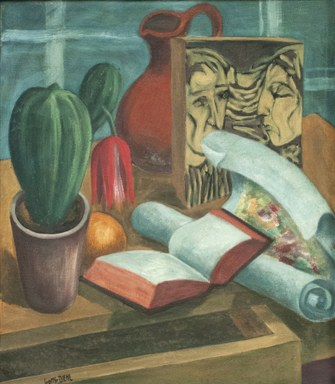 Gottfried Diehl versammelt hier einige wenige Gegenstände auf einem Schreibtisch, darunter ein offenes Buch, einen blühenden Kaktus und eine versteckte Orange. Gleich zwei Kunstwerke sind auf der Tischplatte platziert, eine Druckplatte eines expressionistischen Holzschnitts und ein Papierrolle mit zarten impressionistischen Formen.
