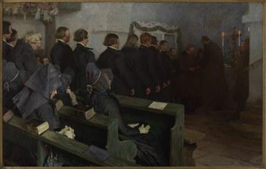 Frauen und Männer, die in Trachten gekleidet sind, beim christlichen Abendsmahl in einer Schwälmer Dorfkirche.