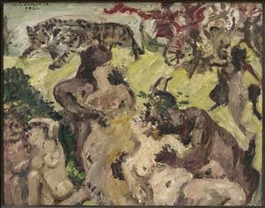 Drei nackte, ineinander verschlungene Paare stehen vor einem offenen Feld. Dahinter tanzen weitere, schemenhafte Figuren ausgelassen um den von zwei Tigern gezogenen Wagen des Bacchus.