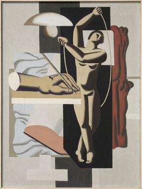 Gezeigt ist eine abstrahierte Person beim Seilspringen, umgeben von Hand, Buch, Lampe, Stoffen und einer gitterartigen Strukur