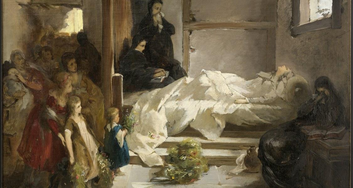 Dargestellt ist die heilige Elisabeth auf ihrem Sterbebett.
