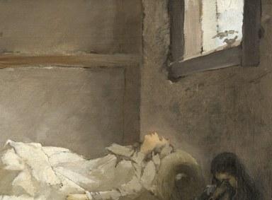 Detailansicht der heiligen Elisabeth auf ihrem Sterbebett