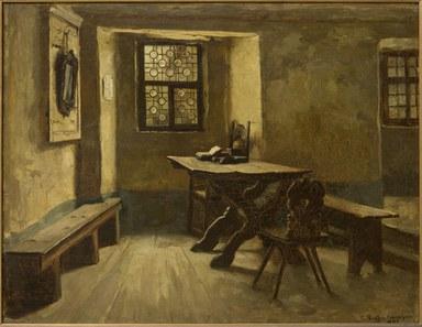 Das Gemälde zeigt eine karg eingerichtete, von zwei niedrigen Fenstern erhellte Stube mit Tisch, zwei Bänken und zwei Stühlen. An der linken Wand hängt ein Spiegel, in der Fensternische ist links ein Blatt an die Wand geheftet. Auf dem Tisch liegen Bücher, von denen eines aufgeschlagen ist. Die Wände sind ockerfarben gestrichen und unten mit einem grünen Streifen versehen. Der rechte Teil des Raumes ist um zwei Stufen erhöht.
