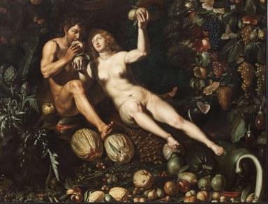 Adam und Eva umgeben von Früchten inmitten des Paradiesgartens; in lebensgroßer Darstellung.