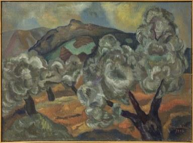 Auf der Leinwand erstrecken sich nach links neigende Olivenbäumen. Im Hintergrund sind gestaffelte Gebirgszüge und ein bewölkter Himmel zu sehen.