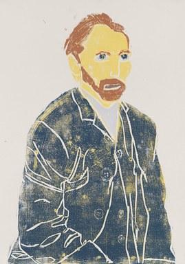 Wir sehen den Künstler Vincent van Gogh auf diesem Holzschnitt von Perihan Arpacilar. Der orangene Bart und das orangene Haar sind das Künstlermarkenzeichen. Die Person trägt eine blaue Jacke.