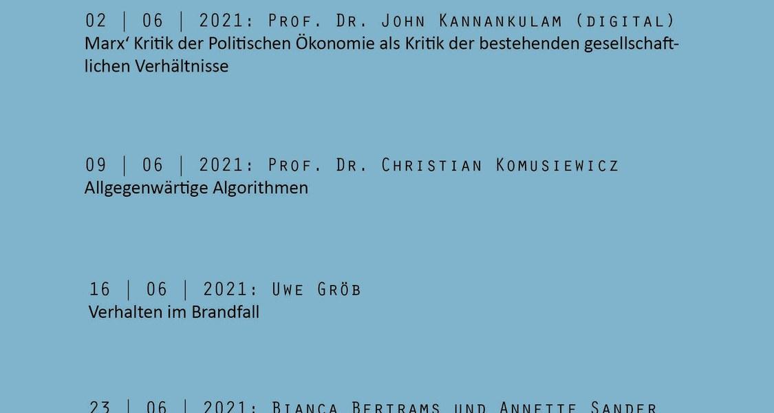 """Die Vortragsreihe """"Mittwochs im Schloss"""" wird im Sommersemester 2021 online stattfinden."""