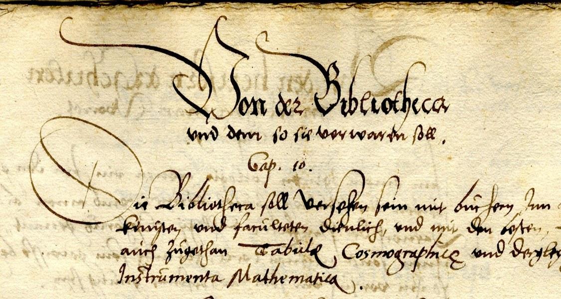 Abschnitt über die Bibliothek aus den im Jahr 1564 erlassenen Statuten der Universität Marburg. UniA Marburg 305a Nr. 7475