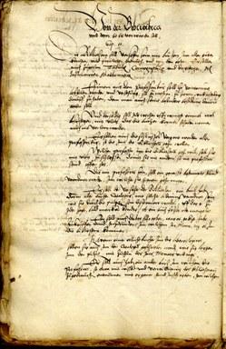 Abschnitt über die Bibliothek aus dem Statutenentwurf von 1560. UniA Marburg 305a Nr. 7475