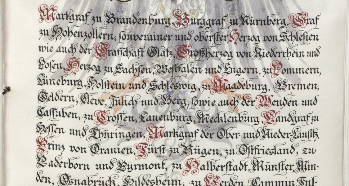 Erste Seite der Statuten der Universität Marburg von 1885. UniA MR Urk. 91 Nr. 484
