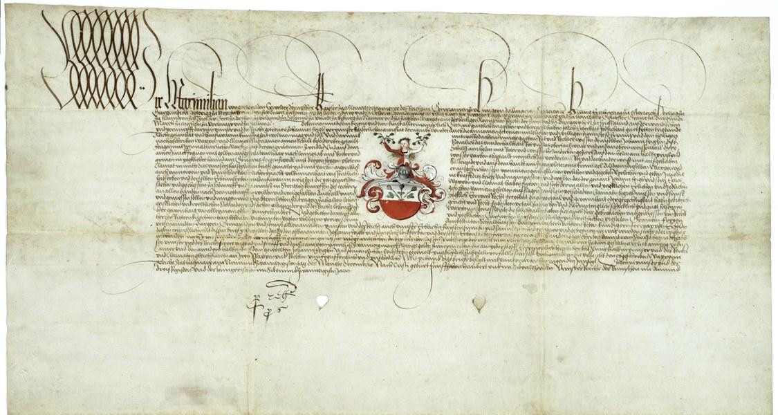 1517 erteilter Wappenbrief Kaiser Maximilian I. für Kanzler Johann Feige.
