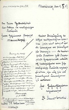 Schreiben Ferdinand Sauerbruchs an die Medizinische Fakultät mit der Bitte um Übernahme als Privatdozent.