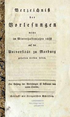 Titelblatt des Vorlesungsverzeichnisses für das Winterhalbjahr 1810/11.