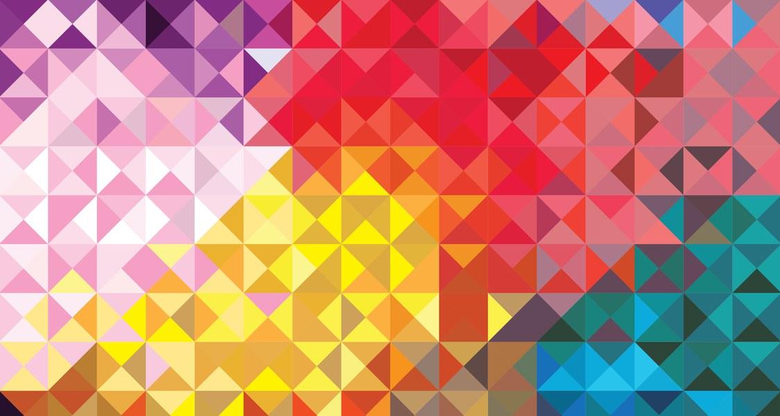Bunte Dreiecke die die verschiedenster Farben zeigen. U.a. die Farben der Trans*-Flagge.