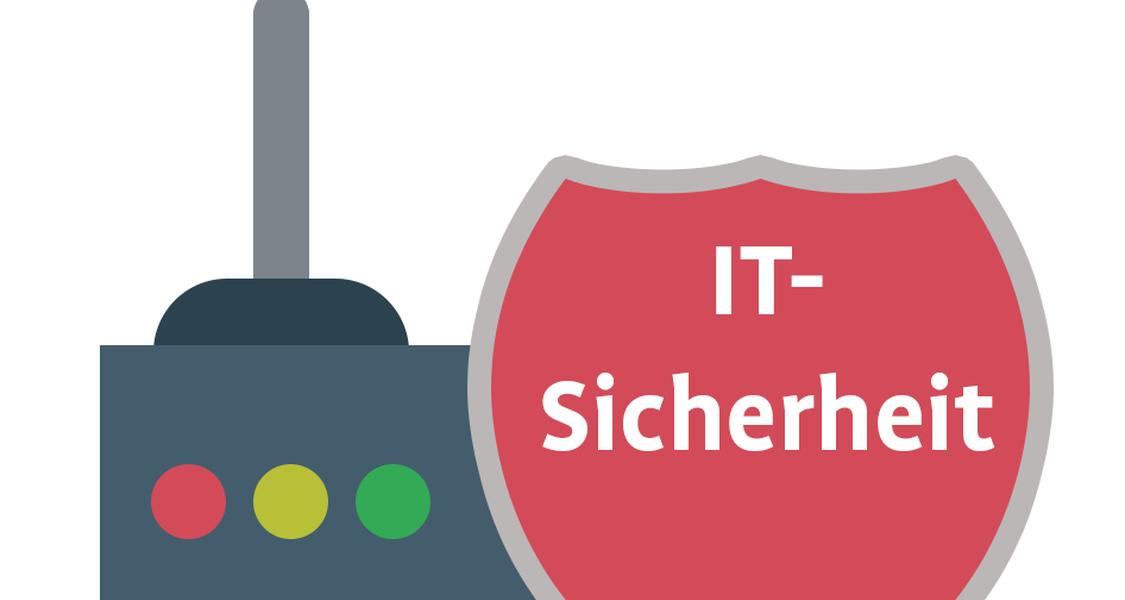 """Abbildung eines Internet-Routers sowie eines Schilds mit der Aufschrift """"IT-Sicherheit"""""""