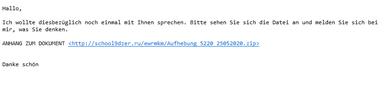 Das Bild zeigt ein Beispiel einer Qakbot Phishing-Mail. Der Text der E-Mail lautet: Hallo, ich wollte diesbezüglich noch einmal mit Ihnen sprechen. Bitte sehen Sie sich die Datei an und melden Sie sich bei mir, was Sie denken. Darunter befindet sich ein Link, über den einen Schadsoftware heruntergeladen wird.