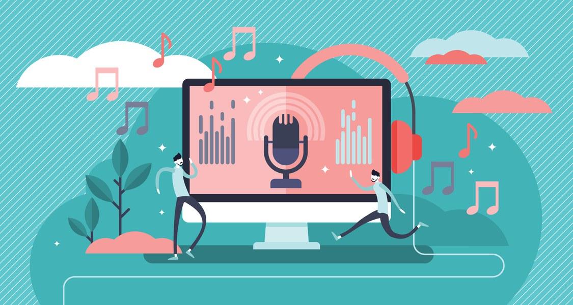 Auf dem Bild ist eine Vektorgrafik zu sehen, auf dem ein Bildschirm mit einem stilisierten Mikrofon abgebildet ist.
