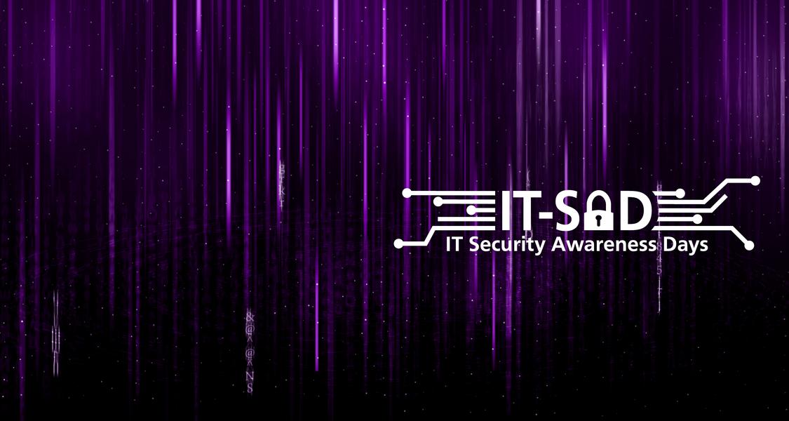 Auf dem Bild sind vertikale pinke Linien und Buchstaben vor einem schwarzen Hintergrund zu sehen. Die Darstellung erinnert an den Film Matrix. Am unteren rechten Rand ist das Logo der IT Security Awareness Days abgebildet.