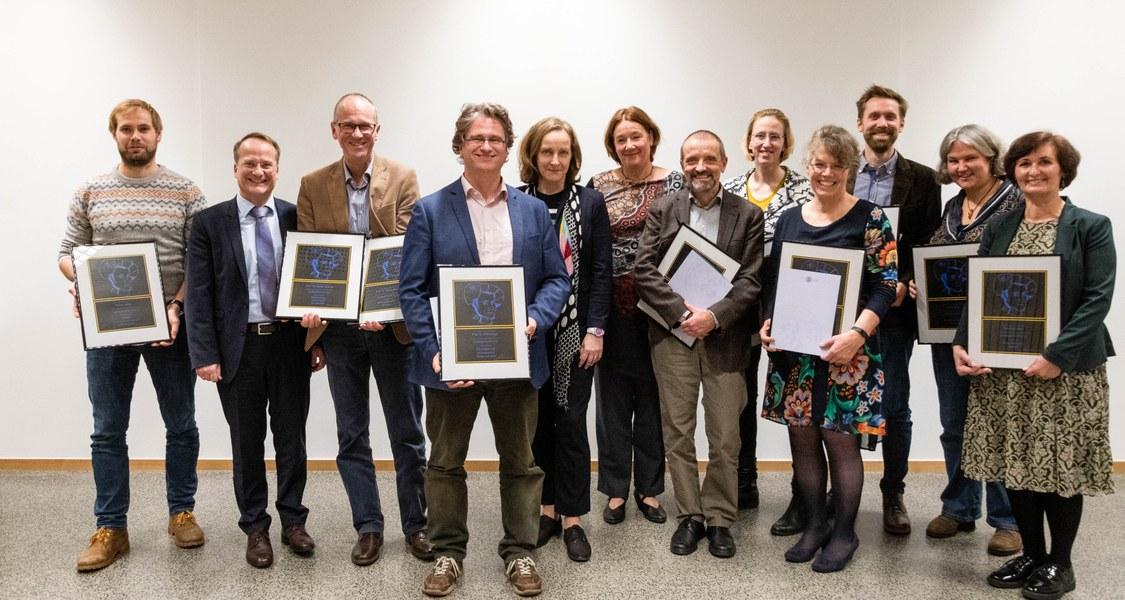 """Die Preisträgerinnen und Preisträger des Lehrpreises """"Lehre@Philipp"""" 2019."""