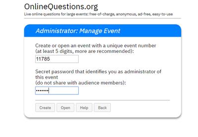 Administrationsansicht zur Erstellung eines Events.