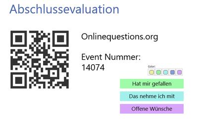 Auf diesem Bild ist der QR Code zu einem vergangenen Event sowie die Farbzuordnung der Evaluation abgebildet.
