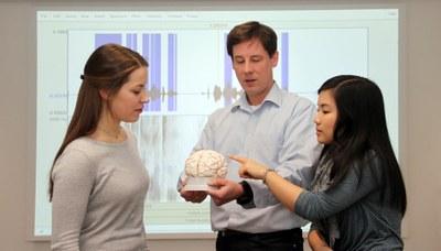 Dozent erklärt Modell des Gehirns