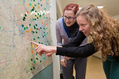 Auswertung einer Karte im Sprachatlas
