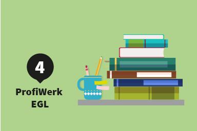 Etappe 4: ProfiWerk EGL; ein Schreibtisch mit einem Bücherstapel und einem Stiftebecher