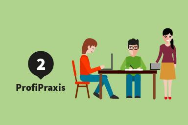 Etappe 2: ProfiPraxis; drei Studierende arbeiten an einem Tisch zusammen