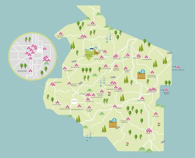 Karte von einem Ausschnitt von Hessen mit allen Praktikumsschulen eingezeichnet