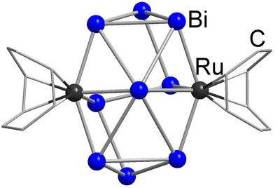 Here, you see the molecular structure of [Bi9(Rucod)2]3-.