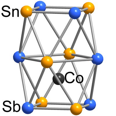 Here, you see the molecular structure of [Co@Sn6Sb6]3−.
