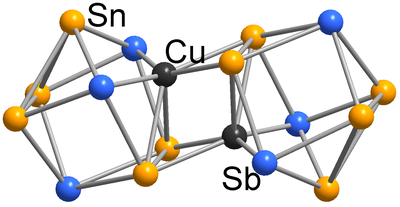 Here, you see the molecular structure of [Cu2Sn10Sb6]4-.