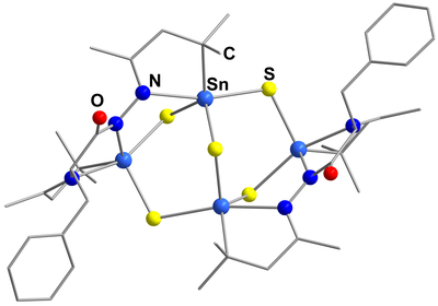 Here, you see the molecular structure of [{(CMe2CH2CMe)N2C(O)CN(CMe2CH 2CMe)CH2Ph}2Sn4S5].