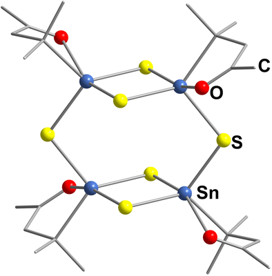 Here, you see the molecular structure of [(R2Sn)4S6]