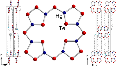 Here, you see the molecular structure of [Hg4Te8(Te2)4]8–.