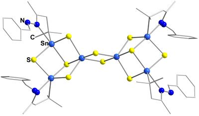 Here, you see the molecular structure of [(R3Sn)4Sn2S10].