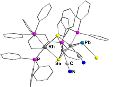 Here, you see the molecular structure of [Rh3(CN)2(PPh3)4(μ3-Se) 2(μ-PbSe)]3–.