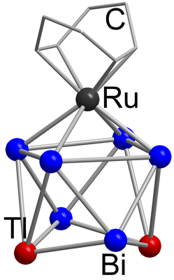 Here, you see the molecular structure of [(Rucod)Tl2Bi6]2-