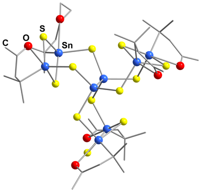 Here, you see the molecular stucture of [(R2SnIV)6SnIII2S 12].