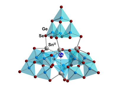 Here, you see the molecular Structure of [Cs@SnII4(GeIV4Se10)4]7−